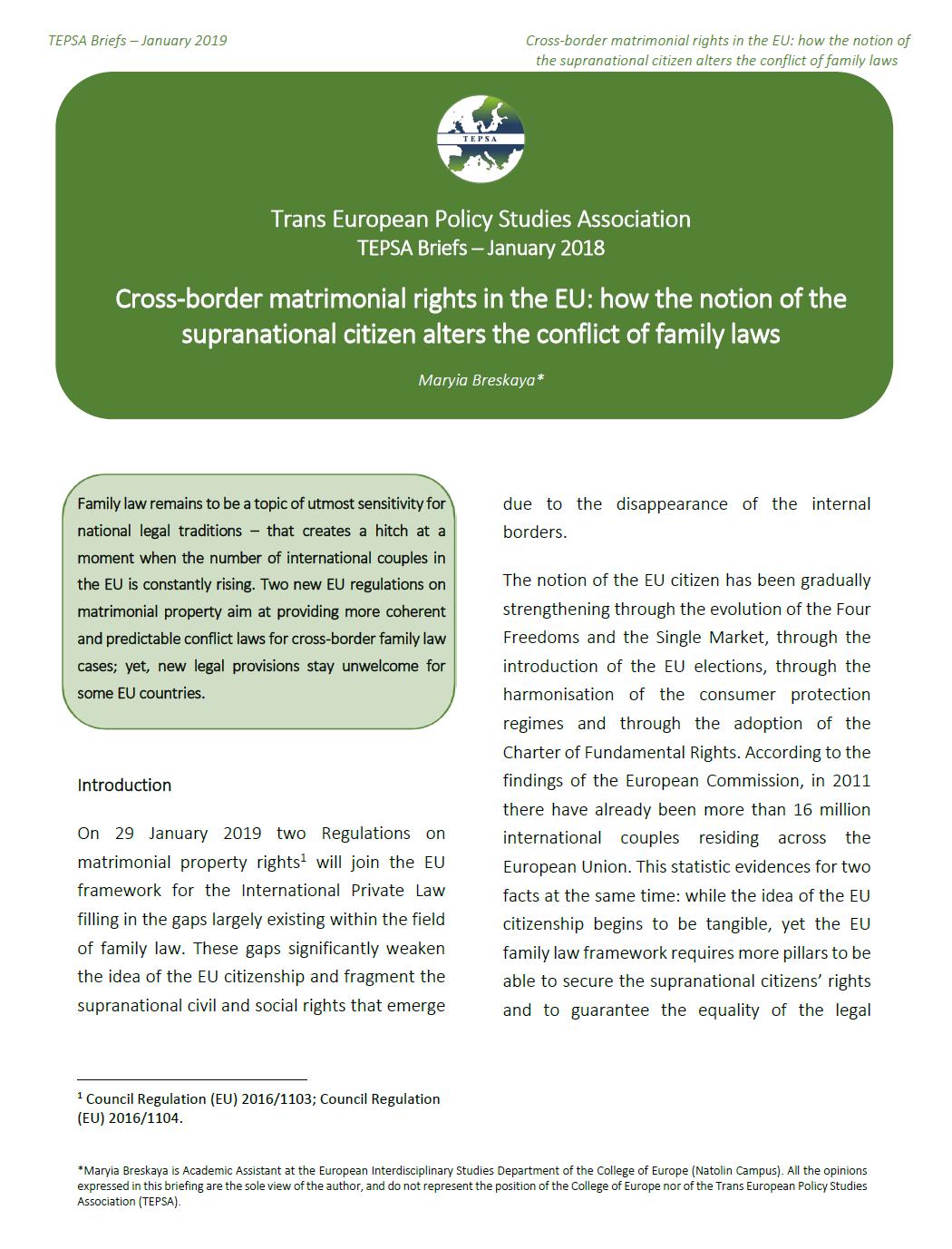 "TEPSA Brief: ""Cross-border matrimonial rights in the EU: how"